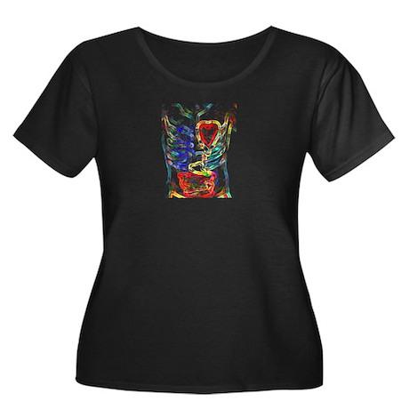 Insides Women's Plus Size Scoop Neck Dark T-Shirt