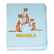 Weasels W Text Baby Blanket