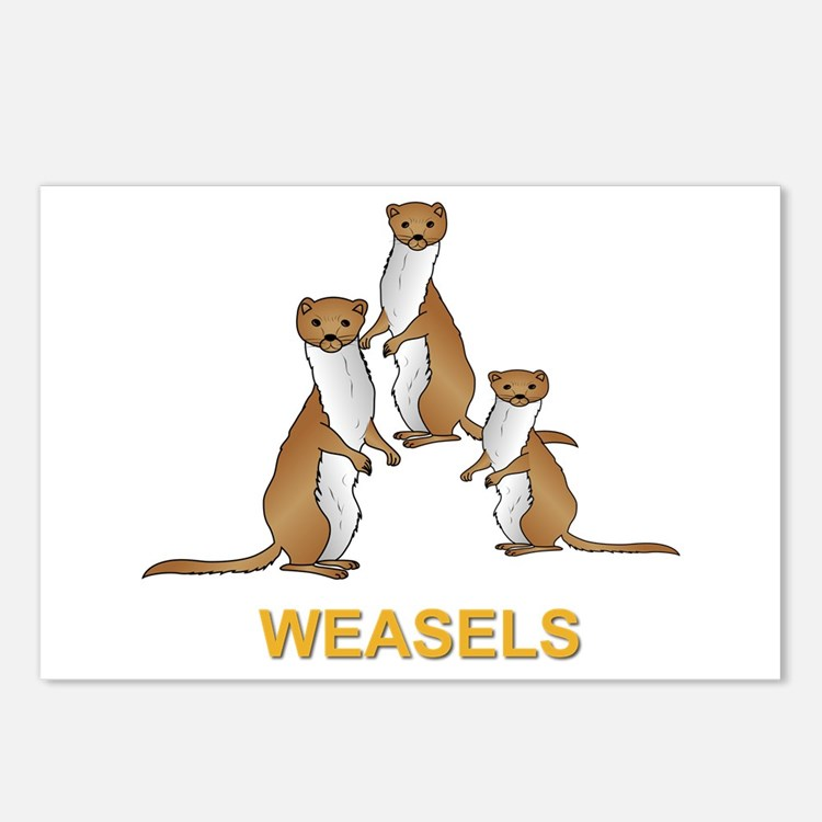 Weasels W Text Postcards (package Of 8)