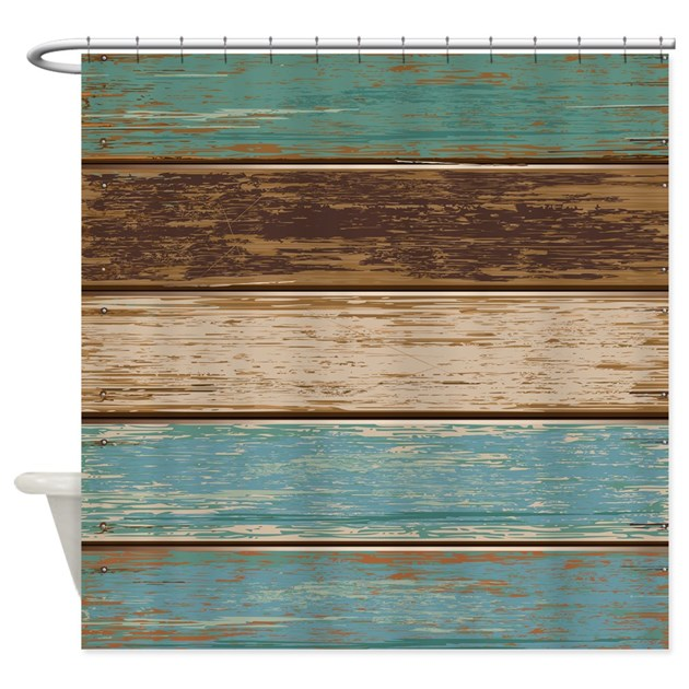 Painted Wood Teal Shower Curtain By MainstreetHomewares
