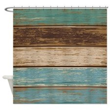 Painted Wood Teal Shower Curtain