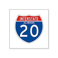 "Interstate 20 - AL Square Sticker 3"" x 3"""