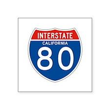 """Interstate 80 - CA Square Sticker 3"""" x 3"""""""