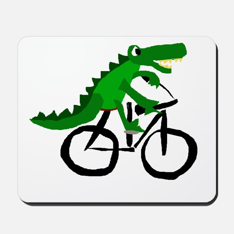 Alligator Riding Bicycle Mousepad