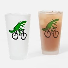 Alligator Riding Bicycle Drinking Glass