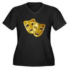 Masks of Com Women's Plus Size V-Neck Dark T-Shirt