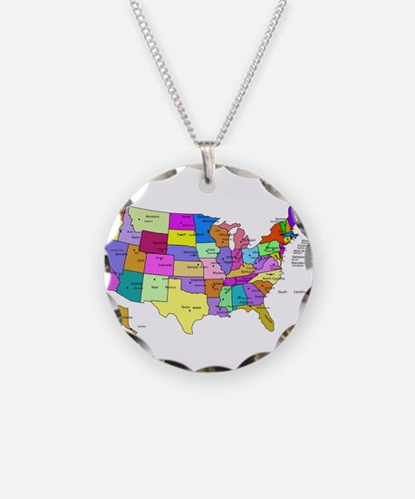 Labeled Colorful USA Necklace