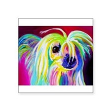 "Cute Chinese crested Square Sticker 3"" x 3"""