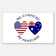 USA / Australian Heritage Rectangle Decal