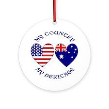USA / Australian Heritage Ornament (Round)