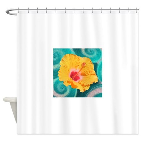 Orange Tropical Flower On Teal Shower Curtain By RAS7