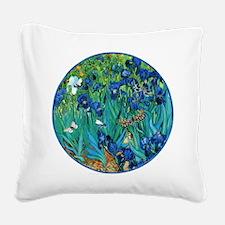 Van Gogh Garden Irises Square Canvas Pillow