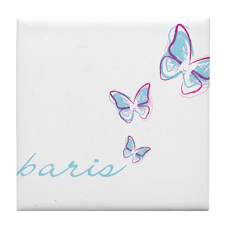 3 blue butterflies Tile Coaster