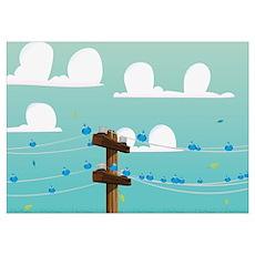 Cartoon Birds nesting on Power Lines Poster