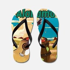 Alabama vintage travel poster Flip Flops