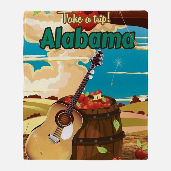 Alabama vintage travel poster Throw Blanket