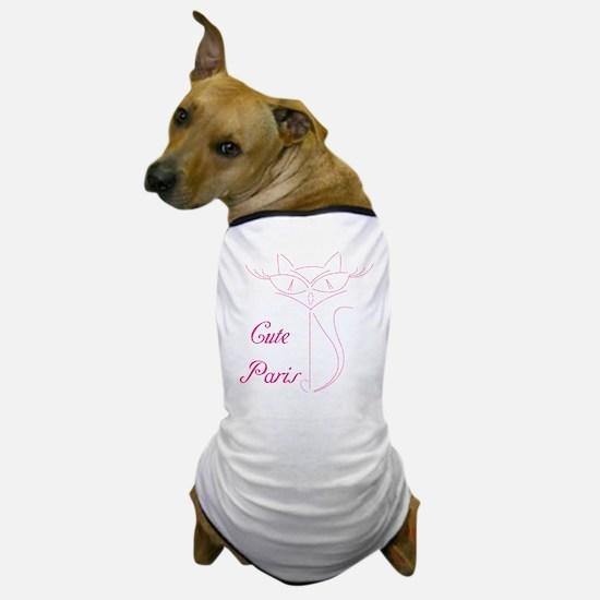 cute paris cat Dog T-Shirt