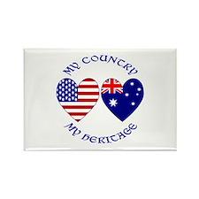 USA / Australian Heritage Rectangle Magnet