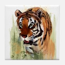 Watercolor Tiger Tile Coaster