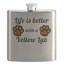 Life Is Better With A Yellow Lab Flask