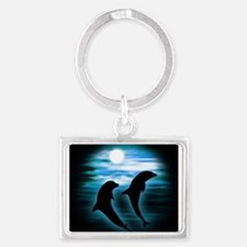 Midnight Dolphins bg Keychains