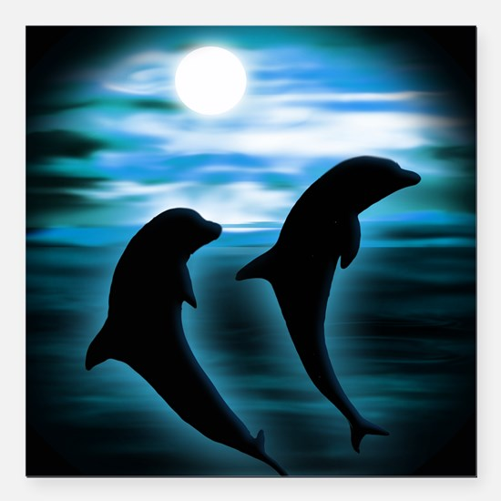"Midnight Dolphins bg.png Square Car Magnet 3"" x 3"""