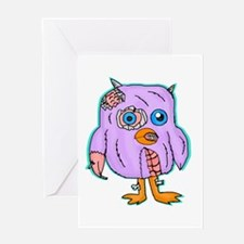 Purple Zombie Penguin Greeting Cards