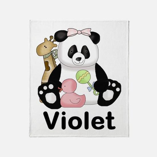violet's sweet panda personalized Throw Blanket