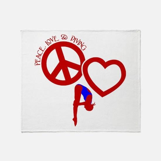 PEACE-LOVE-DIVING Throw Blanket