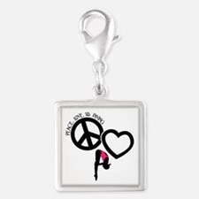 PEACE-LOVE-DIVING Silver Square Charm