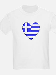 Greek Flag Heart Valentine Kids T-Shirt