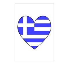 Greek Flag Heart Postcards (Package of 8)