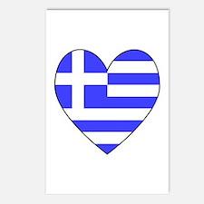 Greek Flag Heart Postcards (Package of 8)