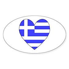 Greek Flag Heart Oval Decal