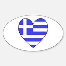 Greek Flag Heart Oval Decal