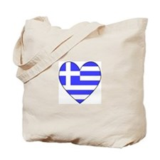 Greek Flag Heart Tote Bag