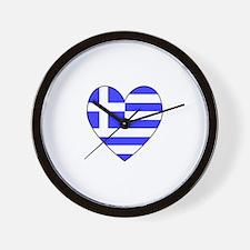 Greek Flag Heart Wall Clock