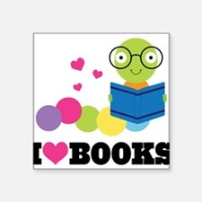 "Cute Book Square Sticker 3"" x 3"""