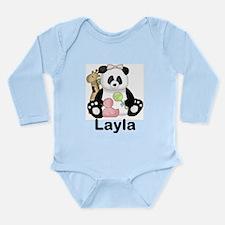 layla's sweet panda pe Long Sleeve Infant Bodysuit