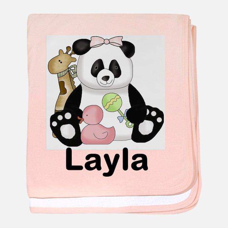 layla's sweet panda personalized baby blanket