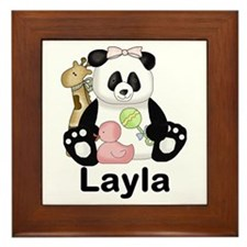 layla's sweet panda personalized Framed Tile