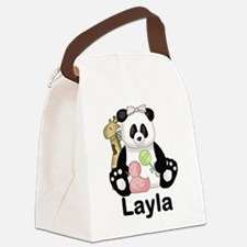 layla's sweet panda personalized Canvas Lunch Bag