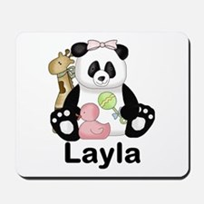layla's sweet panda personalized Mousepad