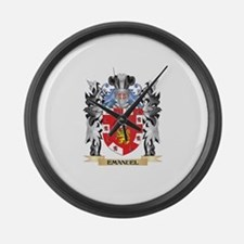 Emanuel Coat of Arms - Family Cre Large Wall Clock