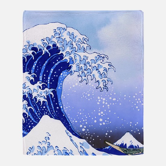 Surf's Up Great Wave Hokusai Throw Blanket