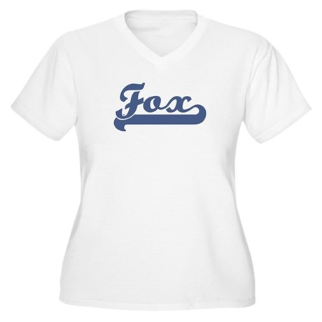 Fox (sport-blue) Women's Plus Size V-Neck T-Shirt