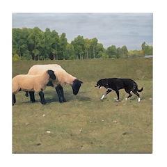 Dog Meets Sheep Tile Coaster