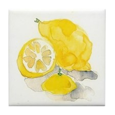 Watercolor Lemon Tile Coaster