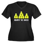 Ready Stack Women's Plus Size V-Neck Dark T-Shirt