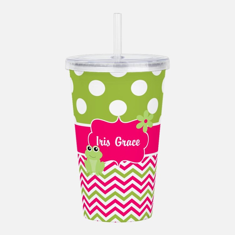 Pink Green Chevron Frog Personalized Acrylic Doubl
